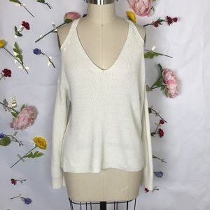 EUC Express cold shoulder cream sweater